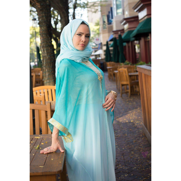 "Turquoise ""Ombre"" Open Abaya - Aweea Muslim Abaya, caftans, baby turbans"