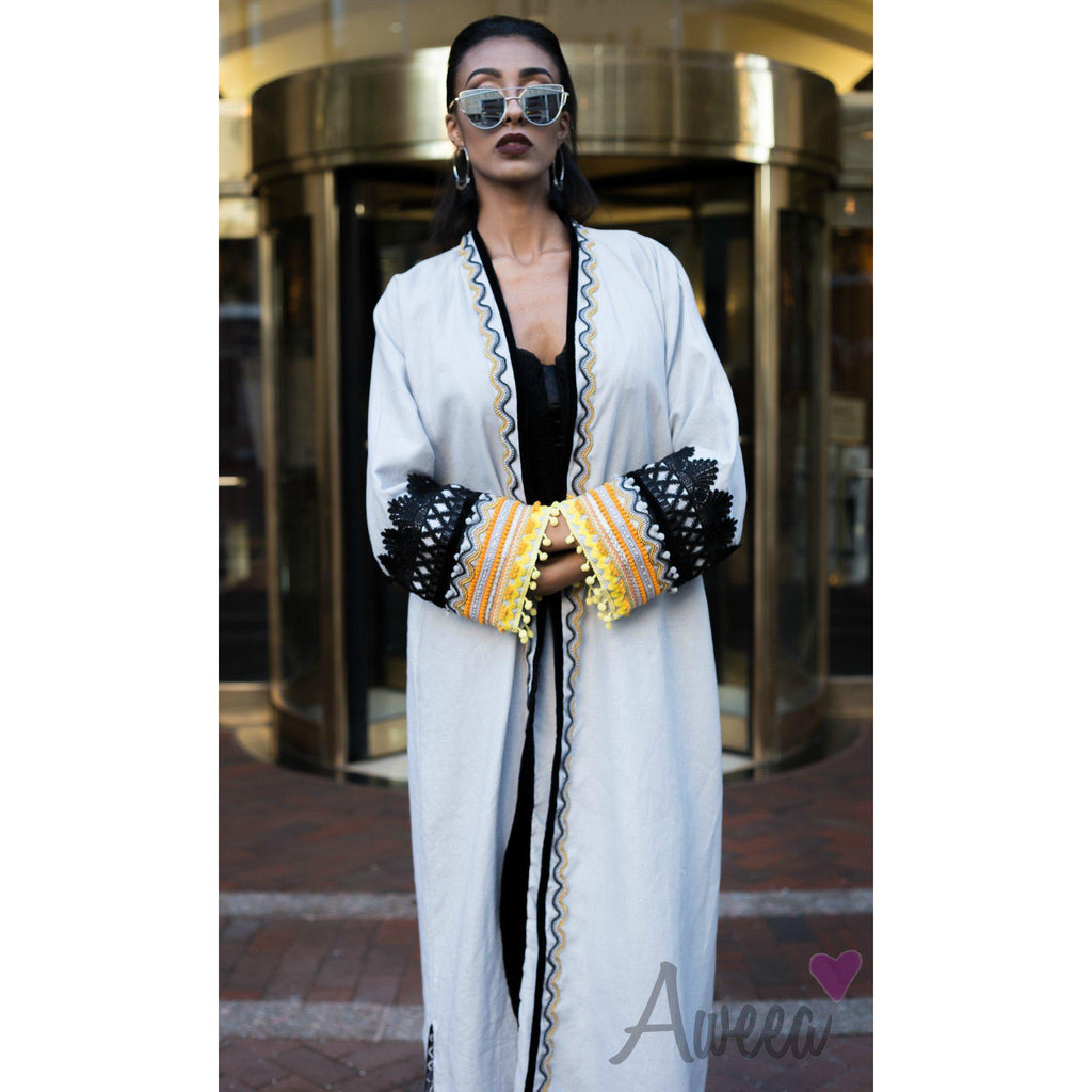 """Native Passion"" Gray Linen Abaya - Aweea Abaya, caftans"