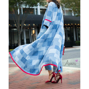 """Denim with a Red Twist"" Open Abaya - Aweea Abaya, caftans"