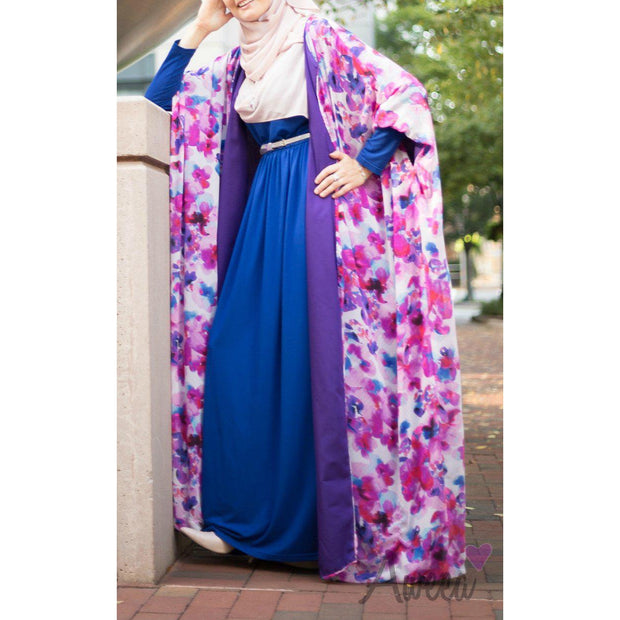 """Floral Beauty"" Evening Abaya - Aweea Muslim Abaya, caftans, baby turbans"