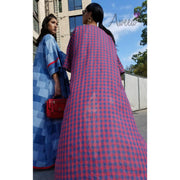 """Gold Pocket"" Plaid Open Abaya - Aweea Muslim Abaya, caftans, baby turbans"