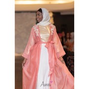 Peach pink Sheer Embroidered Open Abaya - Aweea Muslim Abaya, caftans, baby turbans