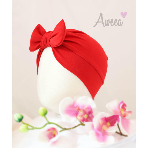 Red Baby Turban with bow - Aweea Muslim Abaya, caftans, baby turbans