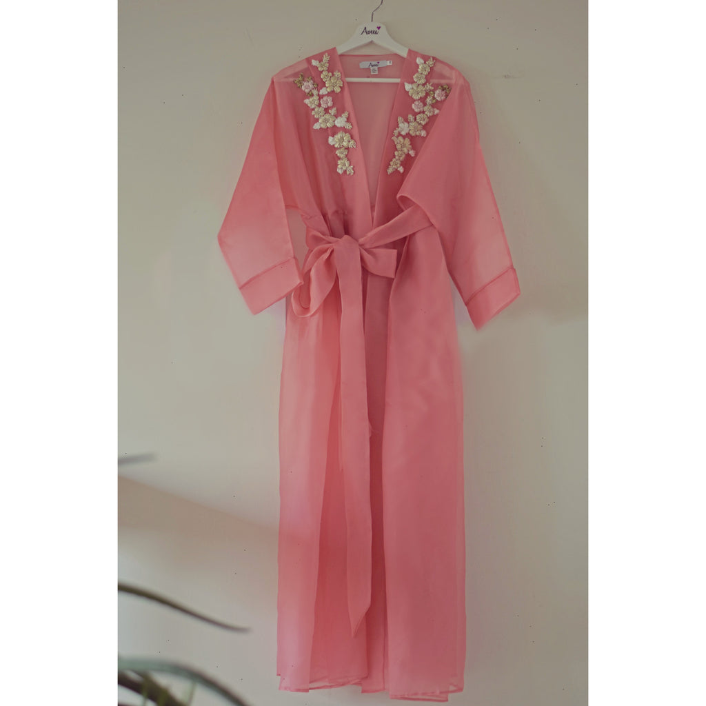 Peach pink Sheer Embroidered Open Abaya