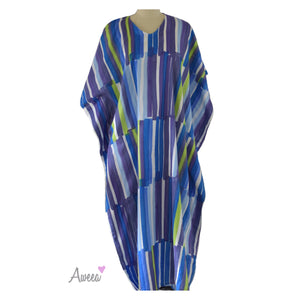 Purple neon green striped Japanese linen Caftan - Aweea Abaya, caftans