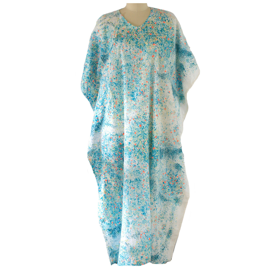 Blue speckled Japanese Linen Caftan - Aweea Abaya, caftans