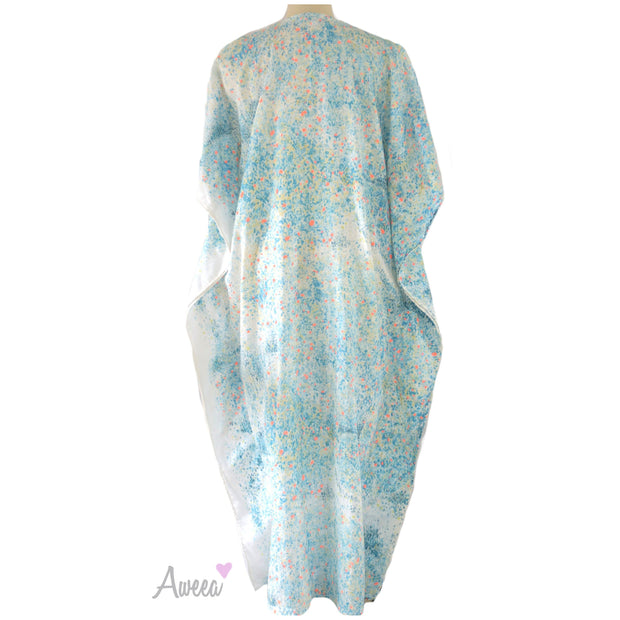 Blue speckled Japanese Linen Caftan - Aweea Muslim Abaya, caftans, baby turbans