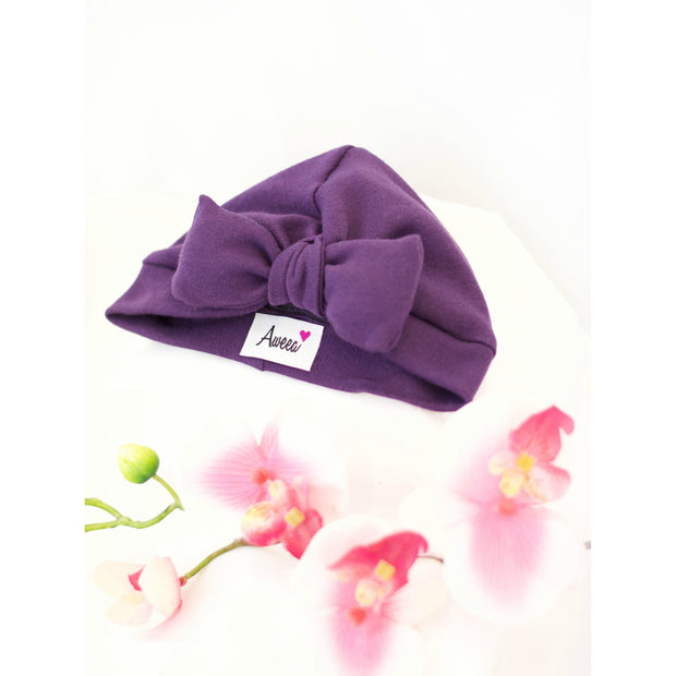 Purple Baby Turban with Bow - Aweea Muslim Abaya, caftans, baby turbans