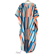 Orange neon striped Japanese Linen Caftan - Aweea Muslim Abaya, caftans, baby turbans