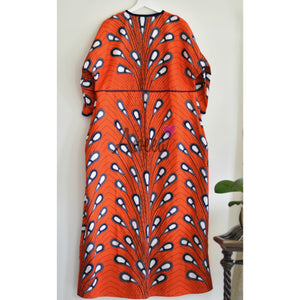 "Orange ""POP"" Ankara Abaya - Aweea Abaya, caftans"