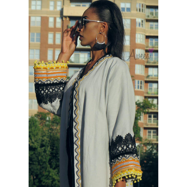 """Native Passion"" Gray Linen Abaya - Aweea Muslim Abaya, caftans, baby turbans"