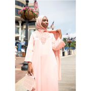 Coral Stretch Caftan Dress - Aweea Muslim Abaya, caftans, baby turbans