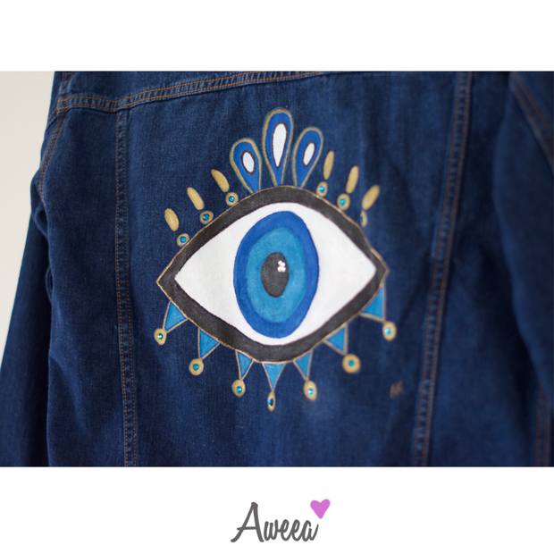 CUSTOM Evil Eye Hand Painted Denim Jacket - Aweea Muslim Abaya, caftans, baby turbans