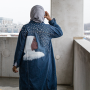 Reaching for the Stars Painted Denim Jacket - Aweea Muslim Abaya, caftans, baby turbans