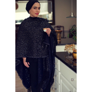Black Sequins Winter Shawl - Aweea Muslim Abaya, caftans, baby turbans