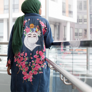 Floral Veiled Painted Denim Jacket - Aweea Muslim Abaya, caftans, baby turbans
