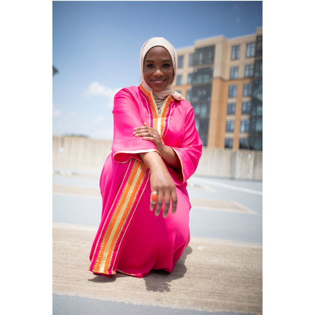 Hot pink caftan with neon gold trim - Aweea Muslim Abaya, caftans, baby turbans