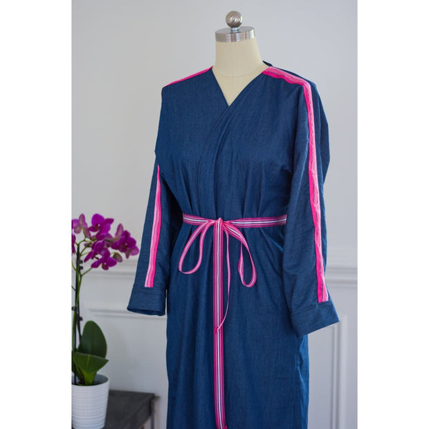 Pink Stripe Denim Collection Open Abaya - Aweea Muslim Abaya, caftans, baby turbans