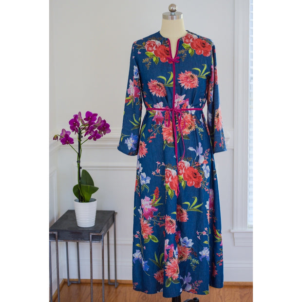 Floral Caftan Dress Denim Collection - Aweea Muslim Abaya, caftans, baby turbans