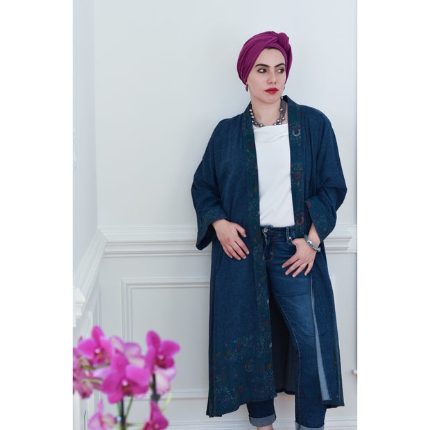 Hand painted Denim Collection Open Abaya - Aweea Muslim Abaya, caftans, baby turbans