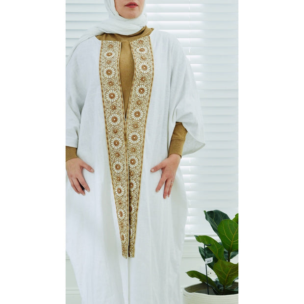 Off-white Bold Collection open abaya - Aweea Muslim Abaya, caftans, baby turbans