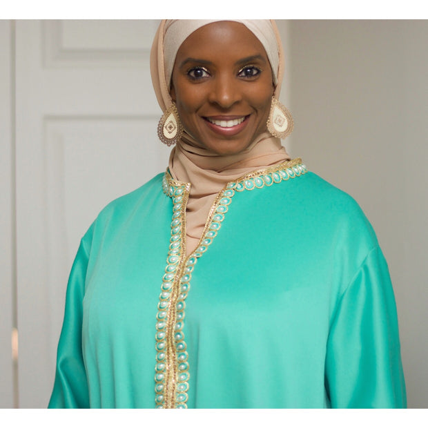 Mint Green Caftan Dress - Aweea Muslim Abaya, caftans, baby turbans