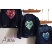 Kids Green Heart denim - Aweea Muslim Abaya, caftans, baby turbans