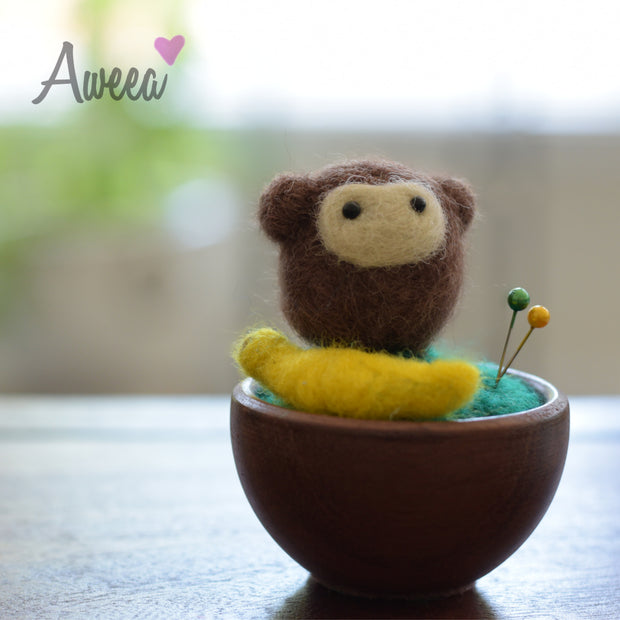 Monkey with Banana Pin Cushion - Aweea Muslim Abaya, caftans, baby turbans