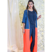 Denim Neon Orange Open Abaya - Aweea Muslim Abaya, caftans, baby turbans