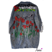 Palestine Red Poppy Handpainted Denim - Aweea Muslim Abaya, caftans, baby turbans