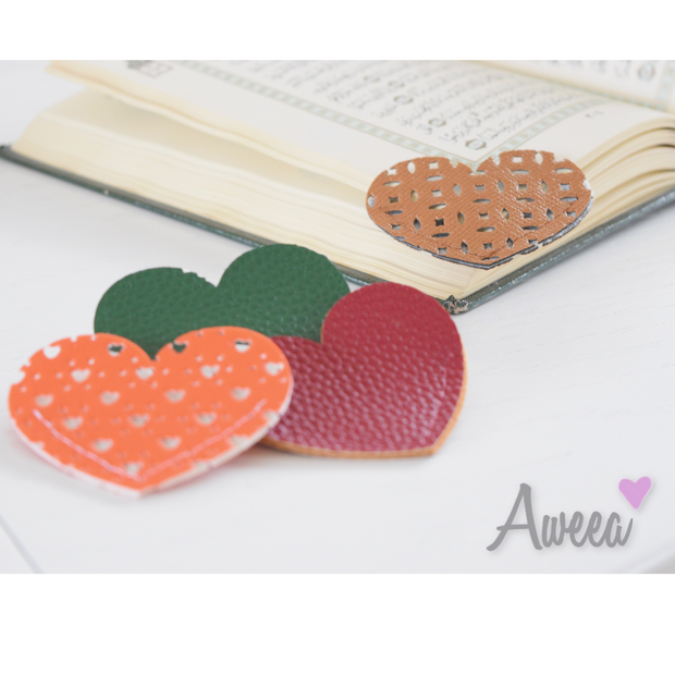 Heart Bookmarks Set 2 - Aweea Muslim Abaya, caftans, baby turbans