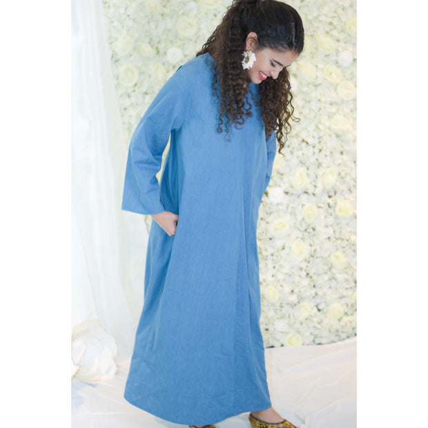 Simple Denim dress - Aweea Muslim Abaya, caftans, baby turbans