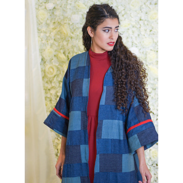 Denim square with Red Trim Open Abaya - Aweea Muslim Abaya, caftans, baby turbans