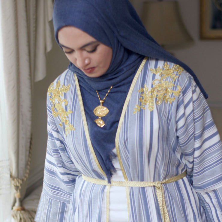 Blue stripe with gold embroidery - Aweea Muslim Abaya, caftans, baby turbans