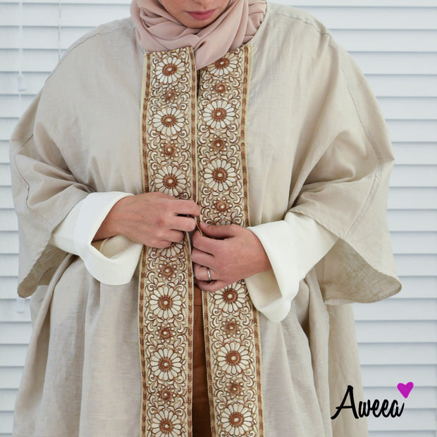 Taupe Bold Collection open abaya