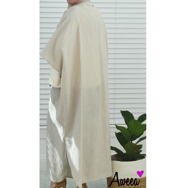 Taupe Bold Collection open abaya - Aweea Muslim Abaya, caftans, baby turbans