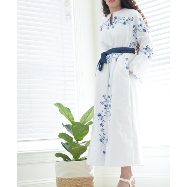 White Floral Dress with Denim belt - Aweea Muslim Abaya, caftans, baby turbans