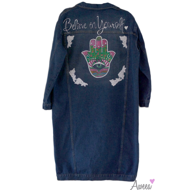 Hamsa Hand Painted Denim Jacket - Aweea Muslim Abaya, caftans, baby turbans