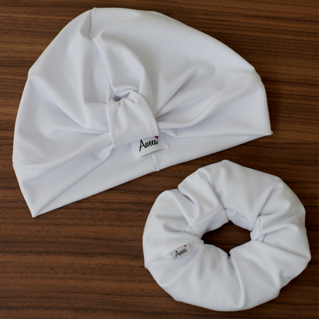 White Swim - Workout Turban - Aweea Muslim Abaya, caftans, baby turbans