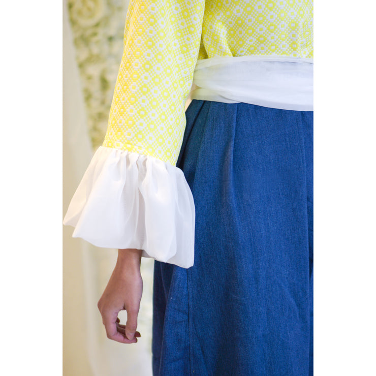 Ruffle Yellow Denim Caftan Dress - Aweea Muslim Abaya, caftans, baby turbans