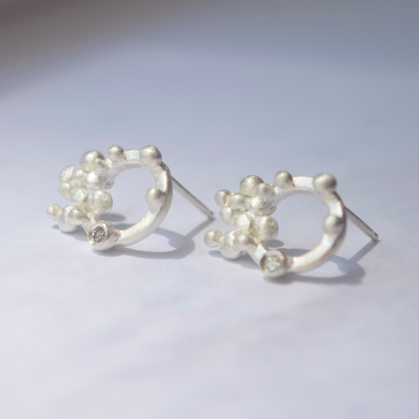 Diamond Particles Earrings, Nature Inspired