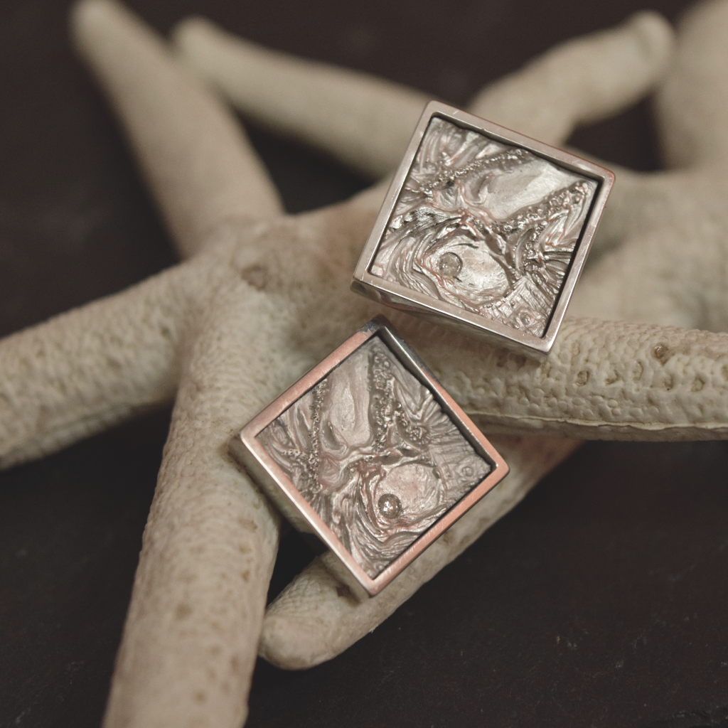 Diamond Cufflinks Inspired by Neptune Moon, Nature inspired cufflinks