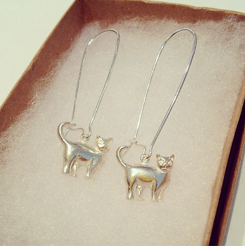 CAT EARRINGS DROP (Silver)