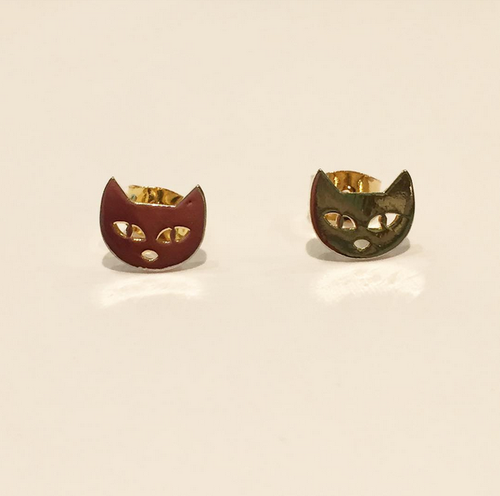 Cat Face Earrings (Gold)