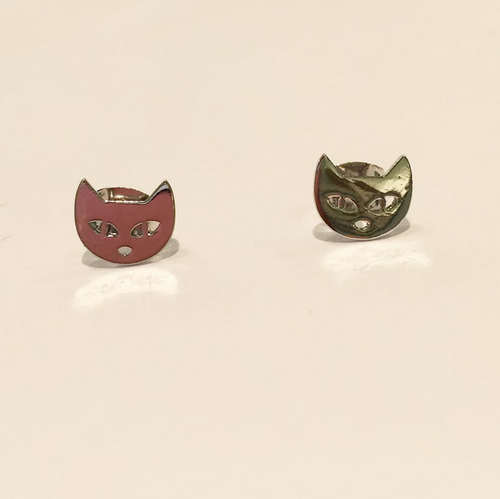 Cat Face Earrings (Silver)
