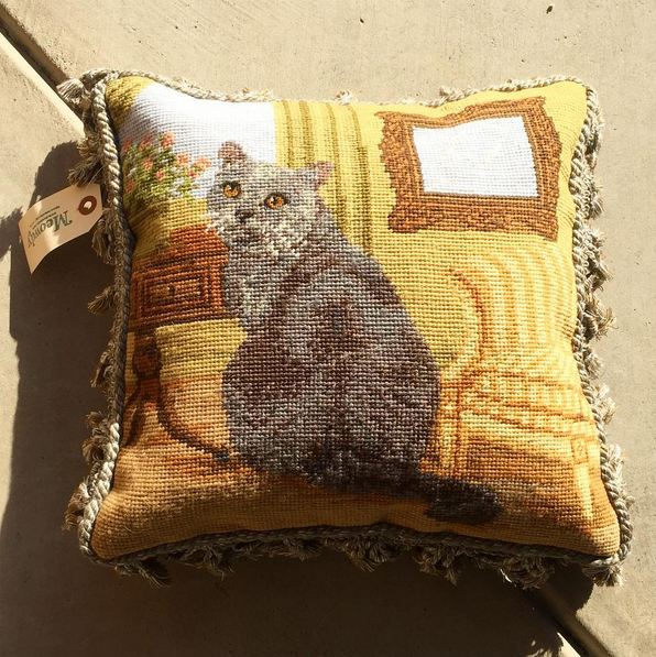 Needlepoint Throw Pillow (Grey Kitten)