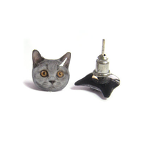 CAT EARRINGS (Silver Cat)
