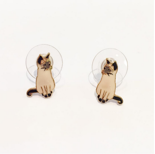 CAT ENAMEL EARRINGS (Siamese)
