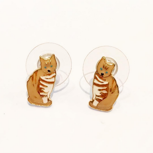 CAT ENAMEL EARRINGS (Tabby)