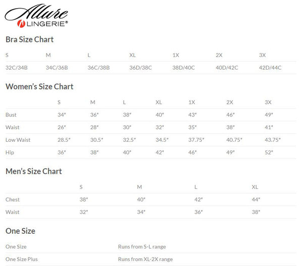 Allure Lingerie and Leather Size Chart